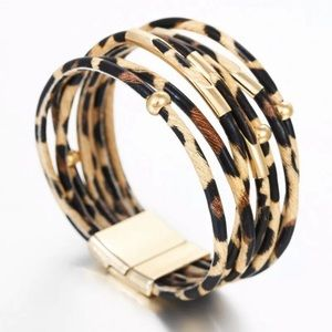 NWT Leopard print wrap bracelet with gold accents